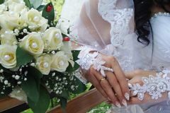 Bride. Beautiful bride with wedding bouquet Stock Image