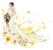 Bride beautiful wedding dress  floral background Stock Images