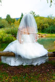 Bride in beautiful wedding dress with long veil sitting by a fish pond in nature. royalty free stock images