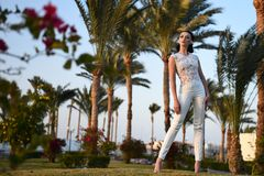 Bride in beautiful wedding long dress, young woman outdoor Royalty Free Stock Images