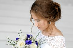 Bride in a beautiful white dress.  Royalty Free Stock Photo