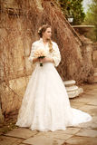 Bride beautiful woman in wedding dress - outdoor portrait Royalty Free Stock Images