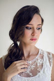 Bride beautiful woman in wedding dress - style Royalty Free Stock Photos