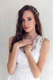 Bride beautiful woman in wedding dress - style Royalty Free Stock Photo