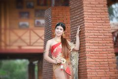 Bride Beauty Thai woman Beautiful Thai girl in traditional dress costume Royalty Free Stock Photography