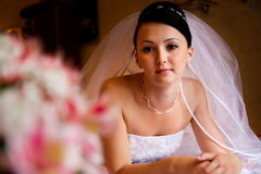 Bride on the bed stock photos
