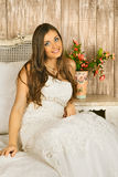 Bride on a Bed Royalty Free Stock Photo