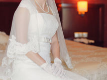 Bride on Bed Royalty Free Stock Image