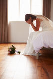 Bride In Bedroom Having Second Thoughts Before Wedding Royalty Free Stock Photos