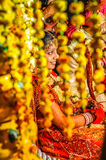 Bride behind decorations in Rajasthan Royalty Free Stock Photos