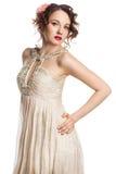 Bride in beige dress Stock Photo