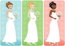 Bride with Belly. Pregnant bride in her wedding dress with bouquet - in three color variations Stock Photography