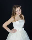 Bride on black background. dress person Stock Photography