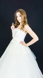 Bride on black background. person wedding day Stock Photo