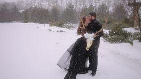 Bride in a black dress. Gothic wedding. Winter. Portrait of a wedding gothic couple in winter against a beautiful snow-covered landscape with an animal`s skull stock footage