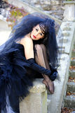 Bride in black. Gothic bride in black wedding dress and veil Royalty Free Stock Photos