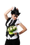 Bride in a black hat Stock Photos