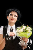Bride in a black hat Royalty Free Stock Photo