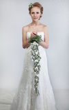 Bride blond with bouquet of flowers Royalty Free Stock Photo