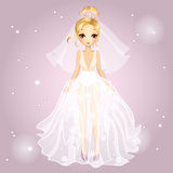 Bride Blonde Girl In Diadem. Vector illustration of beautiful fashionable blonde girl with diadem in a wedding dress Royalty Free Stock Photography