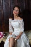 Bride with blue garter Royalty Free Stock Photos