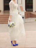 Bride in Blue Shoes Royalty Free Stock Photo