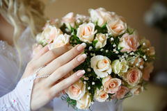 Bride with bouquet. Royalty Free Stock Image