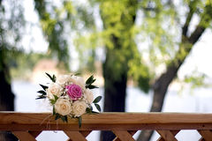 Bride bouquet. With red magenta and white roses Stock Photo