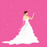 Bride with Bouquet. Illustration of bride holding bouquet wearing wedding gown Royalty Free Stock Photo