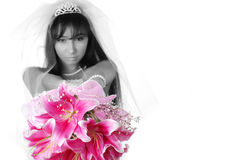 Bride with bouquet Stock Photos