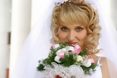 Bride with bouquet. Beautiful bride with wedding bouquet Stock Photos