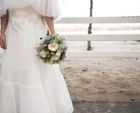 Bride with bouquet with text stock image