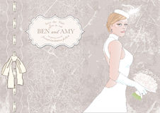 Bride with bouquet, banner for text. illustration Stock Photo