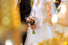 Bride with Bouquet at Church Stock Images