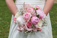 Bride with bouquet. Close-up of a bride with bouquet Royalty Free Stock Photography