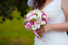 Bride with bouquet, closeup Royalty Free Stock Photography