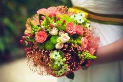 Bride with bouquet, closeup Stock Photo