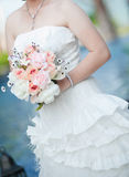 Bride with bouquet closeup Stock Image