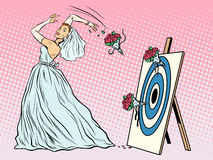 The bride bouquet flower girl throws on target. Pop art retro style. Wedding and betrothal. Wedding tradition. Bride and flower bouquet Royalty Free Stock Photos