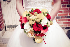Bride with bouquet. A bride with her bouquet Royalty Free Stock Image