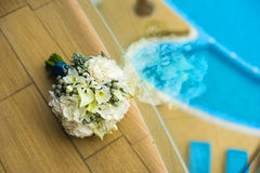 Bride bouquet near the window. Royalty Free Stock Image