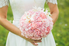 Bride bouquet with pink flowers Royalty Free Stock Image