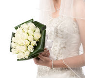 Bride with bouquet of roses Royalty Free Stock Image