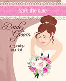 Bride with bouquet of roses Royalty Free Stock Photo