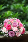 Bride - bouquet of roses in pink and lilac Stock Images