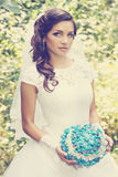 Bride with a bouquet of stone, vintage Royalty Free Stock Photography