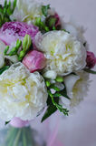 Bride bouquet of wedding flowers white and pink Royalty Free Stock Photo