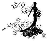 Bride Bouquet Wedding Silhouette Design Stock Photography