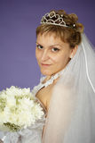 Bride with bouquet of white flowers Royalty Free Stock Photos