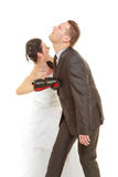 Bride boxing her groom on wedding Royalty Free Stock Images